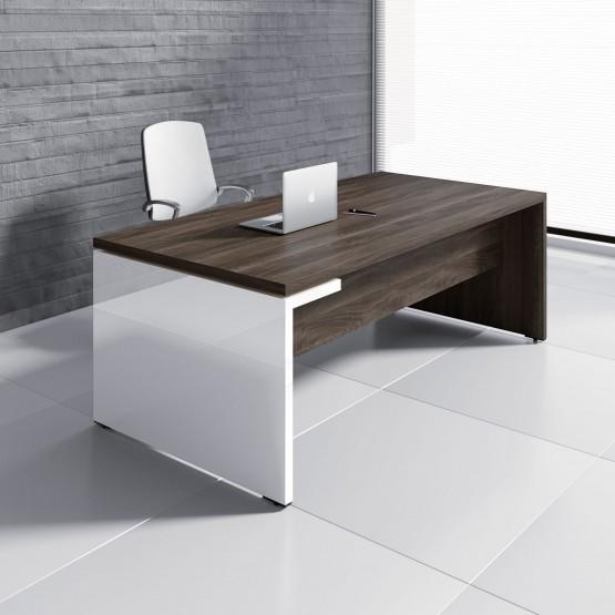 Mito Executive Desk MIT4, Dark Sycamore + White High Gloss photo
