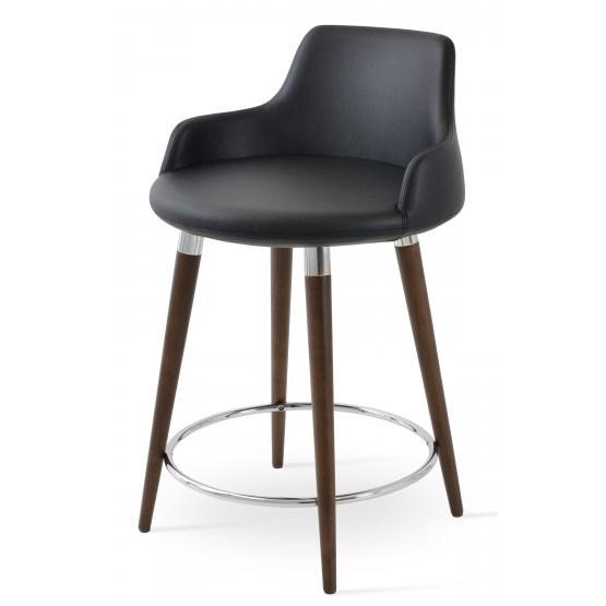 Dervish Wood Counter Stool, Solid Beech Walnut Color, Black Leatherette photo