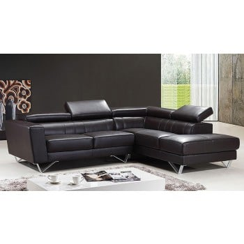 Amalia Sectional Sofa, Right Arm Chaise Facing, Brown