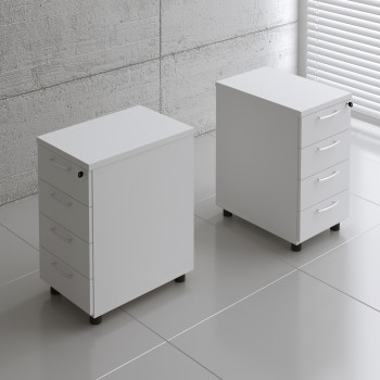 Basic KKT64 Fixed Pedestal w/4 Drawers, White