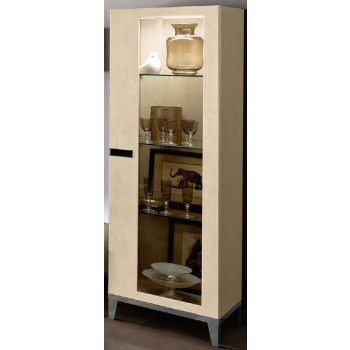 Ambra Right Hand Facing 1-Door Vitrine w/Wooden Sides