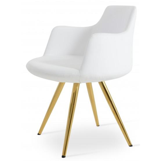 Dervish Star Chair, Gold Brass, White Leatherette photo