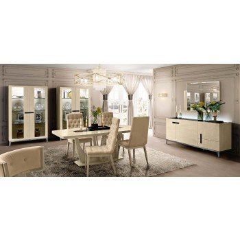 Ambra Dining Room Set w/Medium Dining Table + Capitonne Chairs