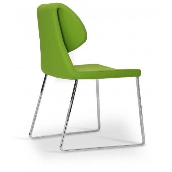 Gakko Sled Chair, Chrome, Pistachio Camira Wool photo