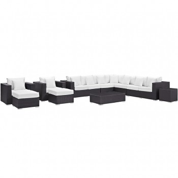 Convene 11 Piece Outdoor Patio Sectional Set, Espresso, White by Modway