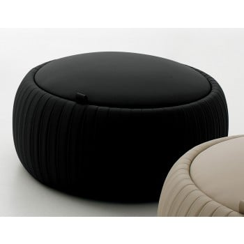 Plisse Small Pouf, Black Eco-Leather
