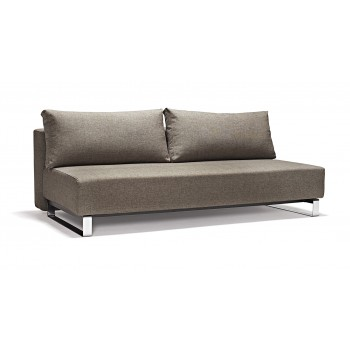 Supremax Deluxe Excess Queen Sofa Bed, 503 Begum Dark Brown Fabric + Chromed Legs