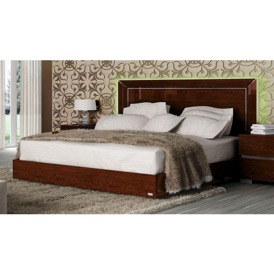 Live Queen Size Bed, Walnut photo
