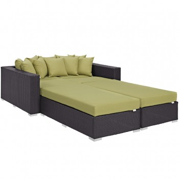 Convene 4 Piece Outdoor Patio Daybed, Espresso, Peridot by Modway