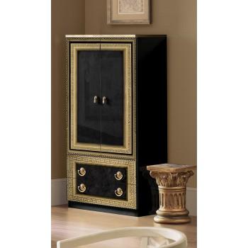 Aida 2-Door Wardrobe, Black + Gold