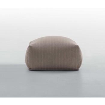 Truly Large Pouf, Dove Grey Gessato Fabric