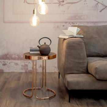 Cora Side Table, Coppered Chrome Metal Base, Canaletto Walnut Wood Top
