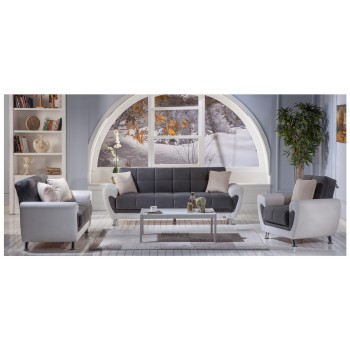 Duru 3-Piece Living Room Set, Plato Dark Grey