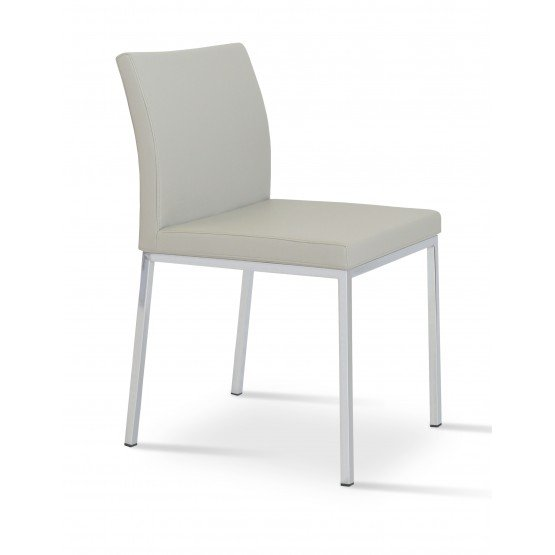 Aria Dining Chair, Chrome Base, Light Grey Leatherette photo
