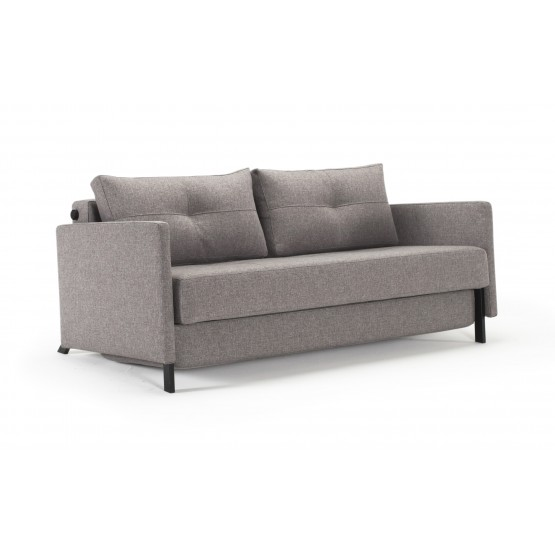 Cubed Deluxe Queen Size Sofa Bed w/Arms, 521 Mixed Dance Grey Fabric photo