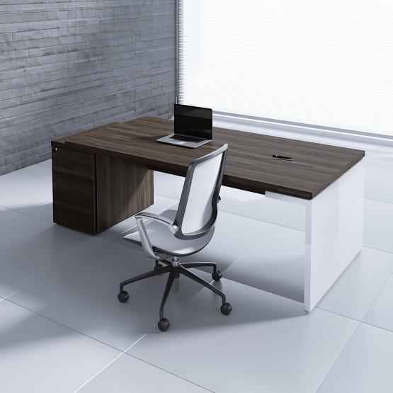 Mito Executive Desk w/Pedestal MIT4KD, Dark Sycamore + White High Gloss photo