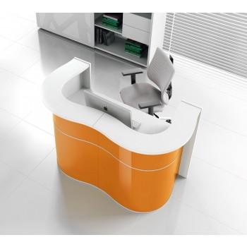 Wave LUV22 Reception Desk, High Gloss Orange