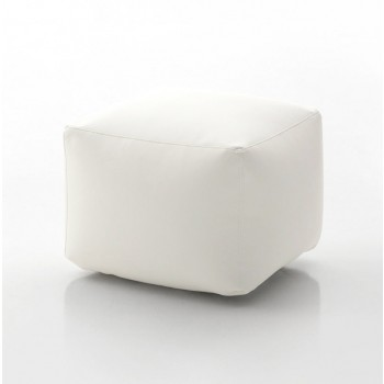 Truly Small Pouf, White Eco-Leather