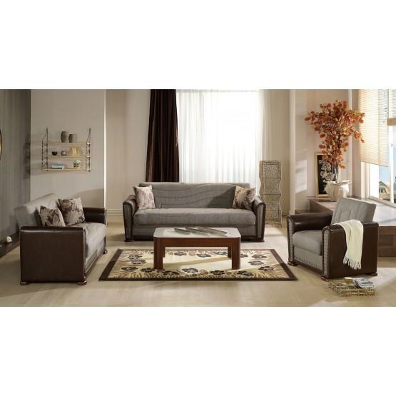 Alfa 3-Piece Living Room Set, Redeyef Brown photo