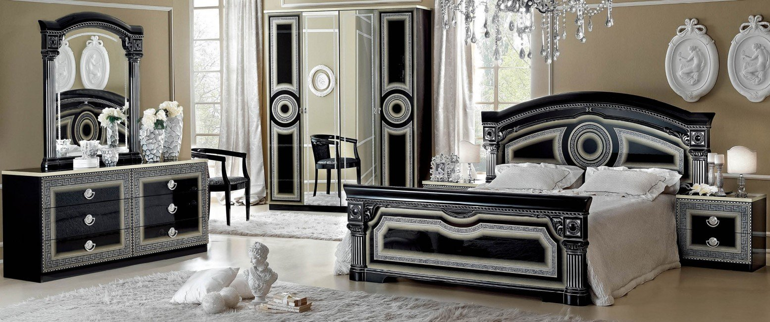 Aida King Size Bedroom Set Black Silver Buy Online At Best Price
