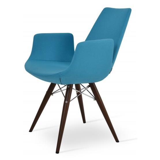 Eiffel Arm MW Plus Chair, Walnut Veneer Steel, Turquoise Camira Wool photo