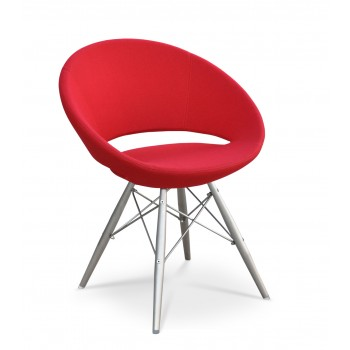 Crescent MW Chair, Stainless Steel, Red Wool, Large Seat by SohoConcept Furniture
