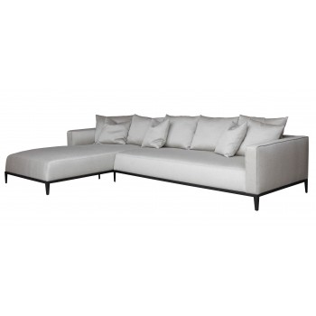 California Sectional, Small, Left Arm Chaise, Black Base, Grey Brick Fabric by SohoConcept Furniture