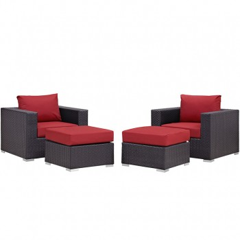 Convene 4 Piece Outdoor Patio Sectional Set, Espresso, Red by Modway