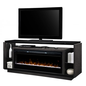 "David Media Console, Grainery Brown Finish, Acrylic Ice (XHD) 50"" Firebox"
