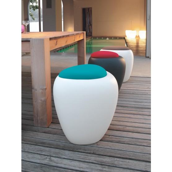 Ios Pouf, White Polyethylene Base, Turquoise Blue Orchidea Fabric photo