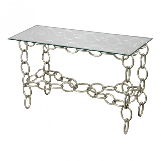 Erin Silver Chain Console Table With Clear Glass Top photo