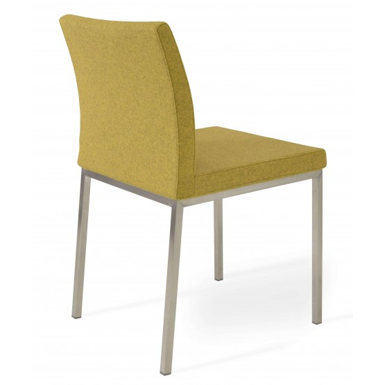 Aria Dining Chair, Stainless Steel Base, Amber Camira Wool photo