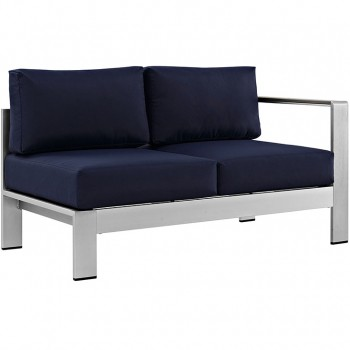 Shore Right-Arm Corner Sectional Outdoor Patio Aluminum Loveseat, Silver, Navy by Modway