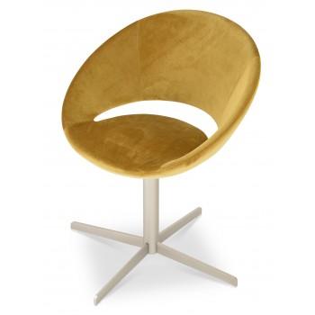 Crescent 4 Star Swivel Chair, Gold Velvet, Large Seat by SohoConcept Furniture