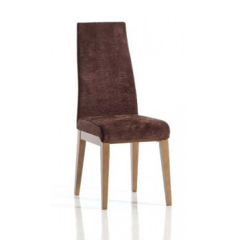 Ada Dining Chair, Brown Base, Dark Brown Upholstery