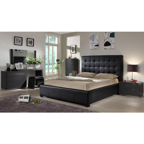 Athens 3 Piece King Size Bedroom Set Black