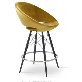 Crescent MW Counter, Black Powder Steel, Gold Velvet by SohoConcept Furniture