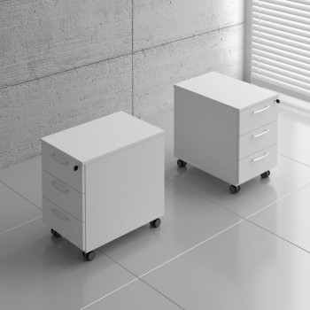 Basic KKT13 Mobile Pedestal w/3 Drawers, White