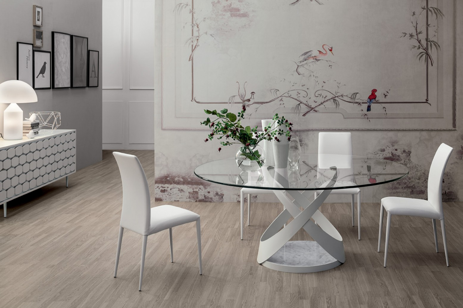Capri Small Round Dining Table Matt White Metal Base Carrara White Marble Extra Clear Transparent Glass Top 0 47 Thickness Buy Online At Best Price
