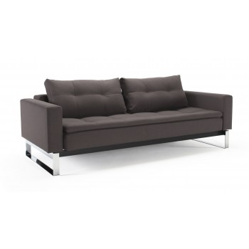 Dual Sofa Bed w/Arms, 555T Soft Grey Fabric + Chromed Legs