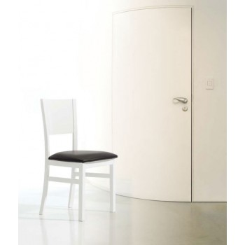 131 Dining Chair, White Base, Black Upholstery