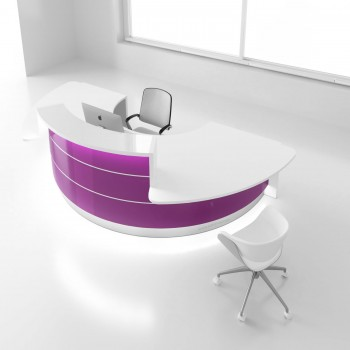 Valde LAV05L Reception Desk, High Gloss Fuchsia