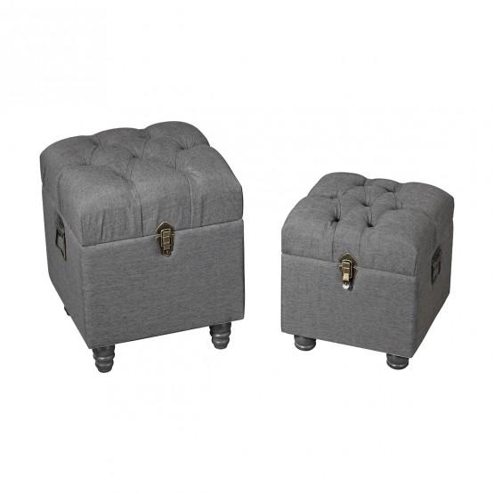 Grey Linen Storage Benches photo