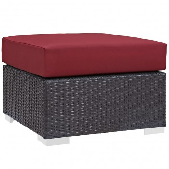 Convene Outdoor Patio Fabric Square Ottoman, Espresso, Red by Modway