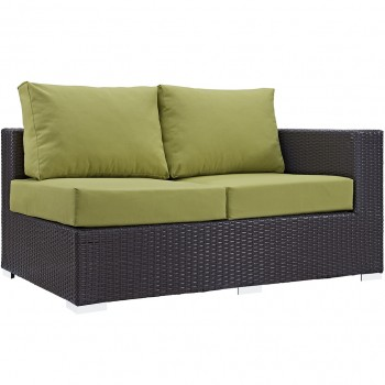 Convene Outdoor Patio Right Arm Loveseat, Espresso, Peridot by Modway