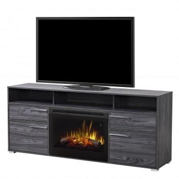 "Sander Media Console, Carbonized Walnut Finish, Log Set 25"" Firebox"