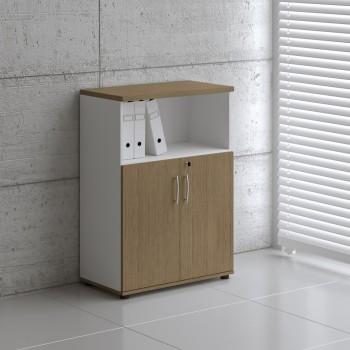 Basic K3404 2-Door Storage, White + Canadian Oak