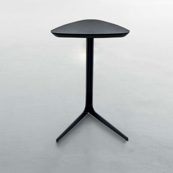 Celine Standard Side Table, Matt Black Metal Base, Matt Black Wood Top