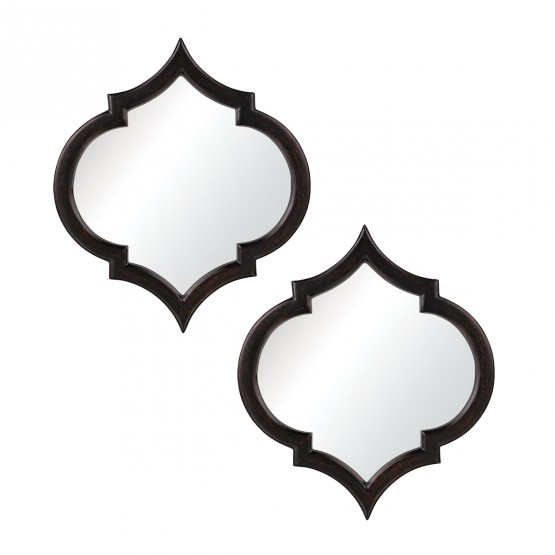 Horizonte Mirrors In Black With Hand Rubbed Silver Edging - Set of 2 photo