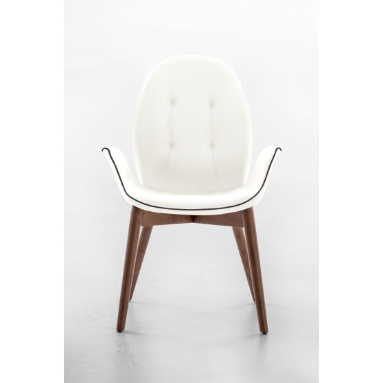 Sorrento Dining Arm Chair, Canaletto Walnut Wood Base, White Leather Upholstery, Dark Brown Сreasing photo